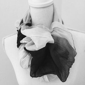BLACK GRAY & WHITE SILK SCARF 40x 68